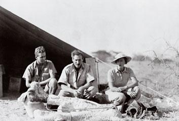 Louis Leakey (center) at Olduvia Gorge