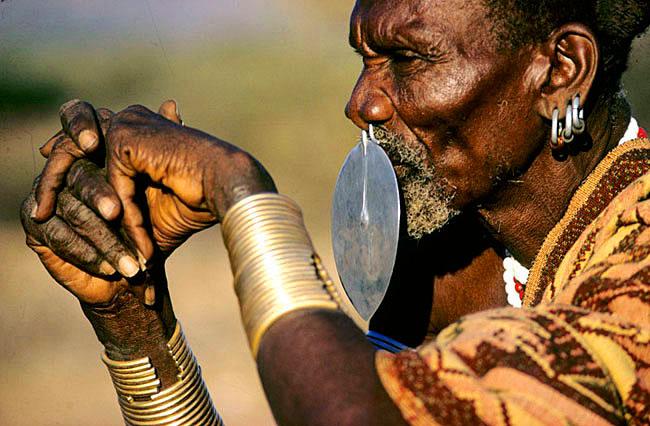 Kenya. Near Lake Turkana. Turkana nomad elder.